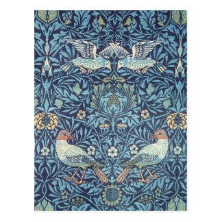 Blaue Vogel-Tapisserie-mit BlumenVintages Williams Postkarte
