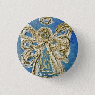 Blaue Wächter-Engels-Knöpfe, Buttone oder Anhänger Runder Button 3,2 Cm