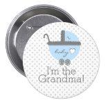 Blaue Wagen-Baby Duschen-Großmutter Anstecknadelbutton