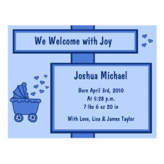 Blaue Wagen-u. Herz-Geburts-Mitteilung Postkarte