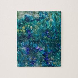 Blaue Wasserfarbe-Farben-Kunst Puzzle