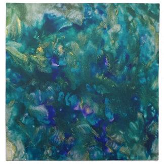 Blaue Wasserfarbe-Farben-Kunst Serviette