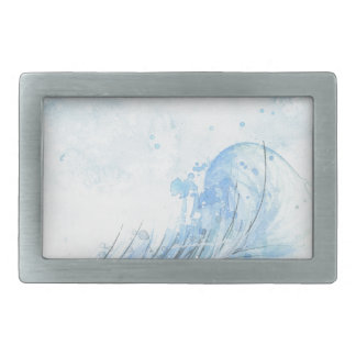 Blaue Wasserfarbe-Feder Rechteckige Gürtelschnalle