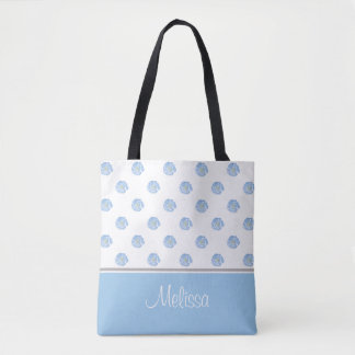 Blaue Watercolor-Blume blüht personalisiertes | Tasche