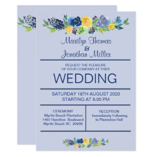 Blaue Watercolor-Blumen, die Einladung Wedding