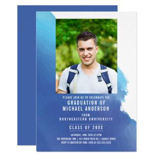 Blaue Watercolor-Foto-Abschluss-Party Einladung