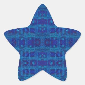 Blaue Webart, abstraktes geometrisches Muster, Stern-Aufkleber