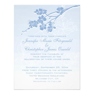 Blaue Wedding Aquarell Ombre Frühlings-Blüten Einladungskarte