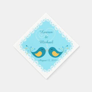 Blaue Wedding Liebe-Vögel Papierserviette