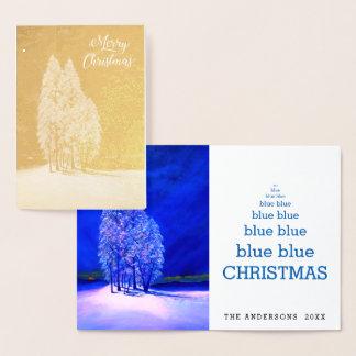 Blaue Weihnachtsbaum-ursprüngliche gezierte Folienkarte