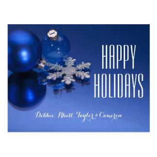 Blaue Weihnachtsdekorationen Postkarte