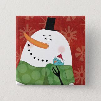Blaue WeihnachtsTasse mit dunklem Kakao Quadratischer Button 5,1 Cm