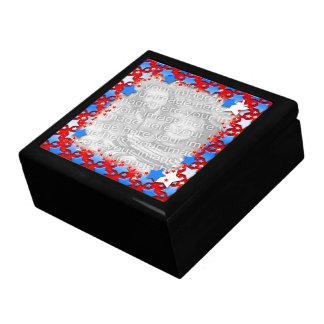 Blaue Weiß-Sterne auf Rot Geschenkbox