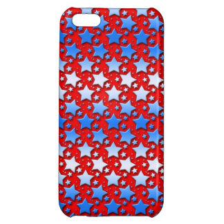 Blaue Weiß-Sterne auf Rot Hülle Für iPhone 5C