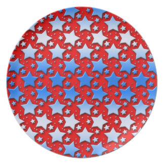 Blaue Weiß-Sterne auf Rot Melaminteller