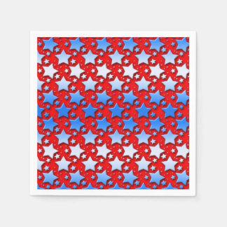 Blaue Weiß-Sterne auf Rot Papierserviette