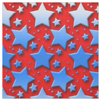 Blaue Weiß-Sterne auf Rot Stoff