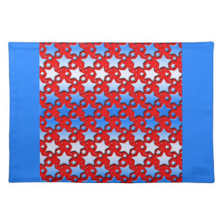 Blaue Weiß-Sterne auf Rot Tischset