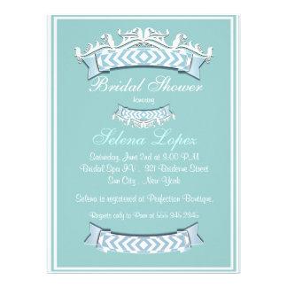 Blaue weiße Brautparty-Einladungen