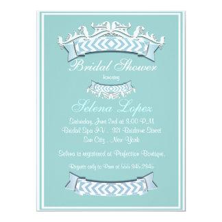 Blaue weiße Brautparty-Einladungen 16,5 X 22,2 Cm Einladungskarte