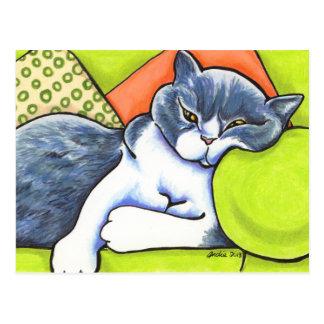 Blaue weiße britische Shorthair gemütliche Postkarte