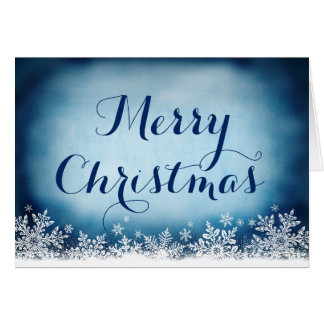 Blaue weiße Schneeflocke-frohe Weihnacht-Karte Karte