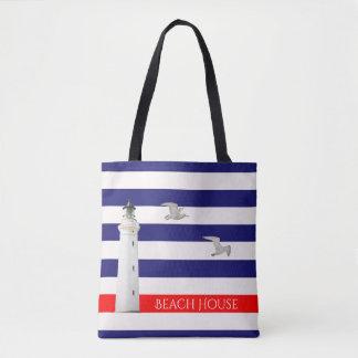 Blaue weiße Seesommerstreifen und -leuchtturm Tasche