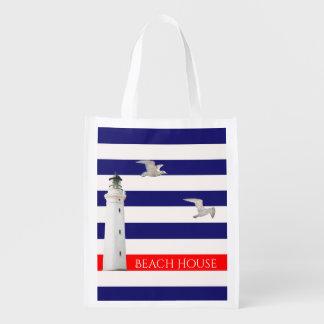 Blaue weiße Seesommerstreifen und -leuchtturm Wiederverwendbare Einkaufstasche