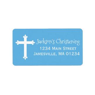 Blaue, weiße Taufadressen-Etiketten mit Kreuz Adressaufkleber