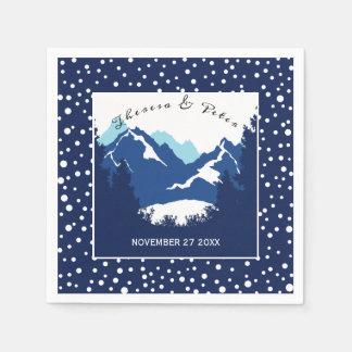 Blaue, weiße wedding Berge und Tupfen Papierservietten