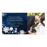 Blaue weiße Winter-Hochzeit danken Ihnen Foto-Kart Bilderkarten