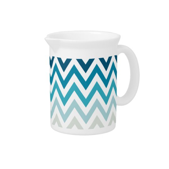 Blaue weiße Zickzack geometrische Entwurfs-Farbe Getränke Pitcher