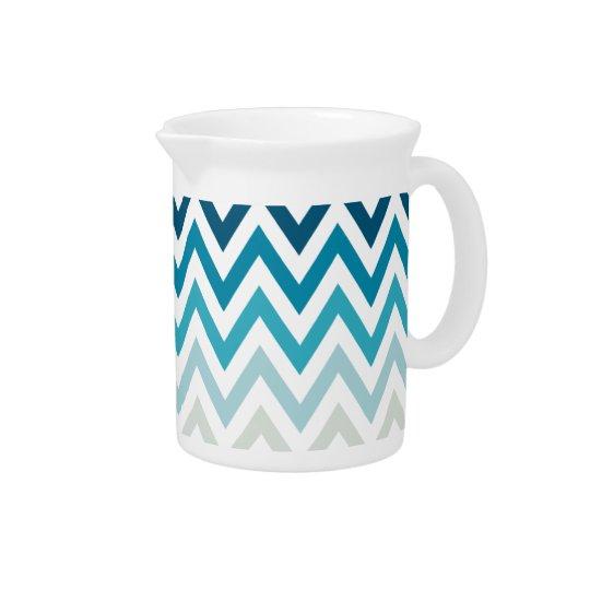 Blaue weiße Zickzack geometrische Entwurfs-Farbe Krug