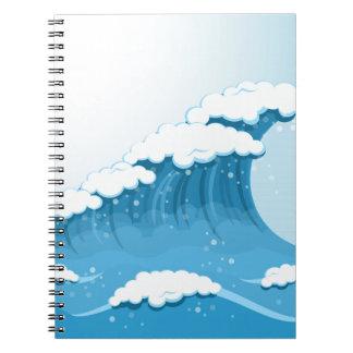 Blaue Wellen-Brandung und Ozean Spiral Notizblock