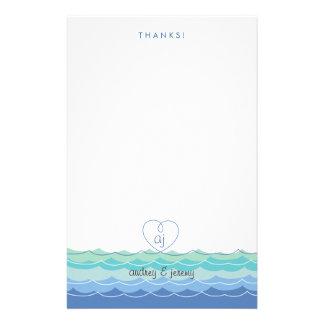 Blaue Wellen-verworrenes Herz danken Ihnen Briefpapier