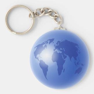 Blaue Weltkugel Standard Runder Schlüsselanhänger