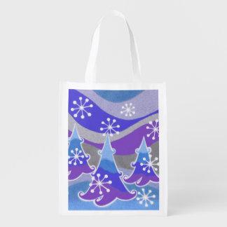 Blaue wiederverwendbare Tasche der Winter-Bäume Wiederverwendbare Einkaufstasche