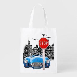 Blaue wiederverwendbare Tasche des Autos und des Wiederverwendbare Tragetaschen