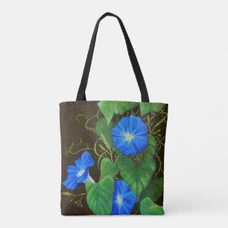 Blaue Winden-Blume mit Reben Tasche