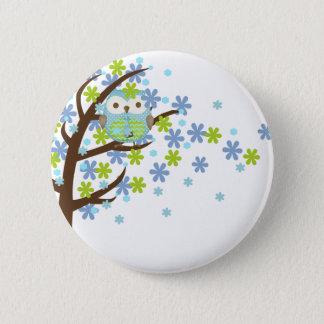 Blaue windige Baum-Eule Runder Button 5,7 Cm