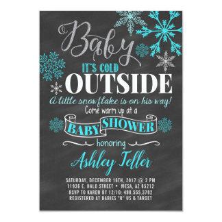 Blaue Winter-Babyparty (Junge) Karte