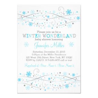 Blaue Winter-Schneeflocke-Babyparty Karte