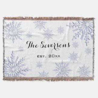 Blaue Winter-Schneeflocken auf Weiß Decke