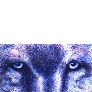Blaue Wolf-Augen, Foto-Skulptur Freistehende Fotoskulptur