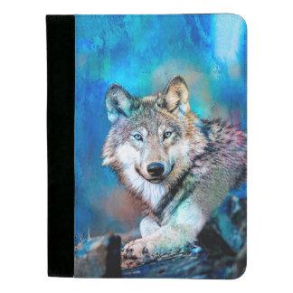 Blaue Wolf-Kunst Padfolio