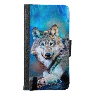 Blaue Wolf-Kunst Samsung Galaxy S6 Geldbeutel Hülle