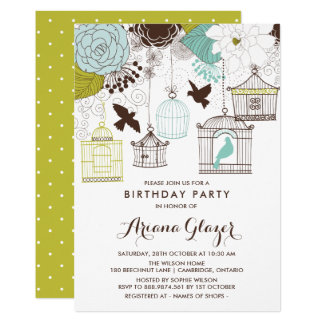 Blaue wunderliche Birdcages-Geburtstags-Party Karte