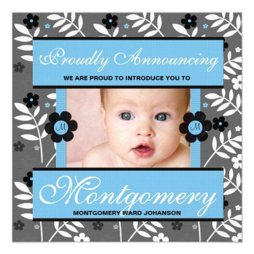 Blaue zeitgenössische Geburts-Mitteilungs-Foto-Kar Personalisierte Ankündigungskarte
