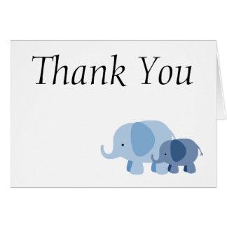 Blaue Zickzack Elefant-Baby-Jungen-Dusche danken Karte