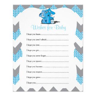 Blaue Zickzack Elefant-Baby-Jungen-Dusche - Flyer